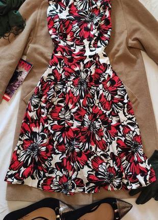 Платье миди цветочное красное классическое белое чёрное m&co