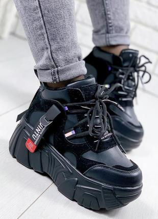 ❤ женские черные осенние деми кроссовки ботинки сапоги полусапожки на флисе ❤
