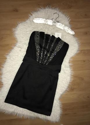 🌿шикарное платье бандо в камни нарядное платье расшитое камнями и бисером