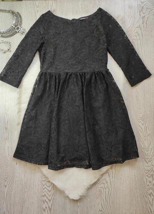 Черное короткое нарядное ажурное платье с длинными рукавами гипюр набивной вышивка