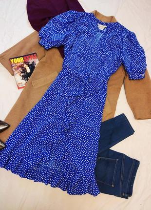 Платье синее миди в горошек с запахом на плечиках с воланами бантом peter barron