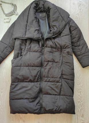 Черный длинный пуховик зимняя куртка по колено воротником обьемный одеяло оверсайз пальто