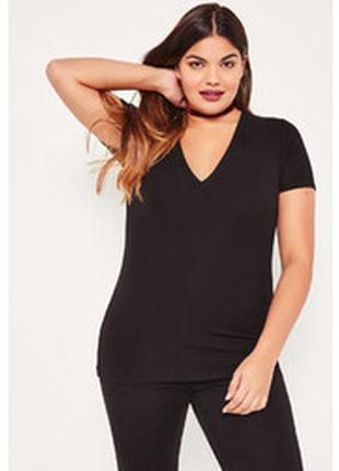 Базовая фирменная черная футболка с v-образным вырезом departure, размер 50 - 52