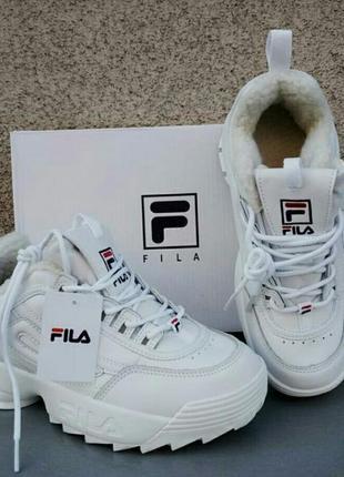 Модные трендовые женские белые зимние кроссовки на меху