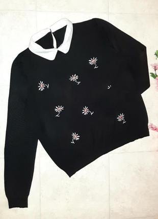 🌿обнова интересный фирменный черный свитер с ромашками, размер 50 - 52