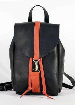 Кожа. ручная работа. кожаный рюкзак, рюкзачок черный