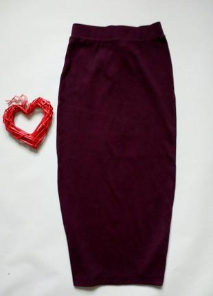 Трикотажная облегающая юбка миди