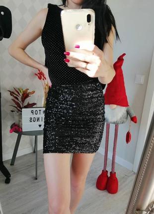 Чёрная юбка в пайетки