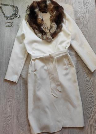 Белое натуральное шерсть длинное пальто оверсайз на запах с поясом халат воротником италия