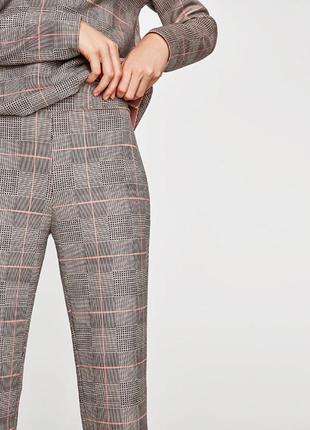 Zara, крутой трендовый костюм брюки-топ в клетку из искусственной замши