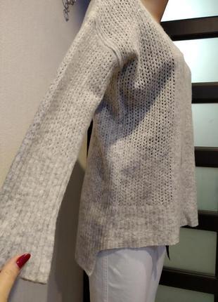 Теплющий мягкий серый джемпер свитер пуловер из натуральной шерсти