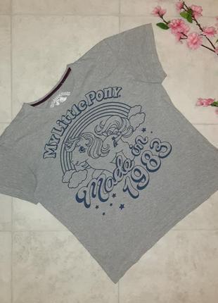 Стильная серая футболка с единорогом my little pony, размер 46 - 48