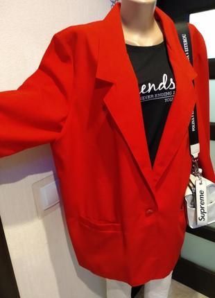 Стильный красный пиджак жакет оверсайз
