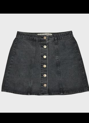 Джинсовая серая юбка на кнопках трапеция