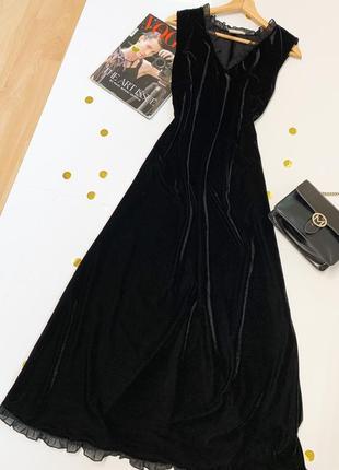 Вечернее черное бархатное платье с кружевом, размер м
