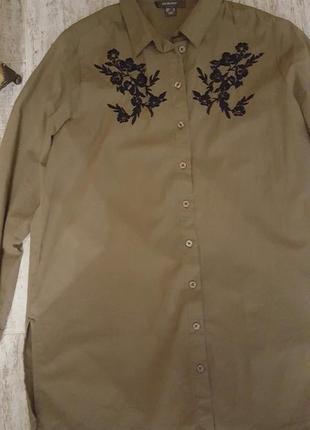 Удлинённая котоновая рубашка с вышивкой размер 16