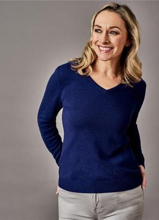 Шерстяной свитер джемпер синий пуловер шерсть 100%