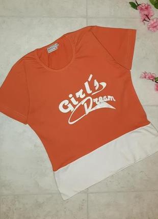 Стильная плотная оранжевая футболка mosaic, размер 44 - 46