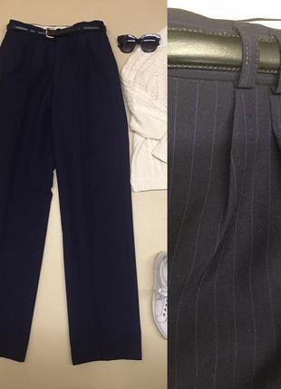 Шерстяные брюки с защипами и высокой посадкой