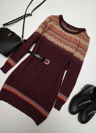 Классная шерстяная туника/ длинный свитер с орнаментом