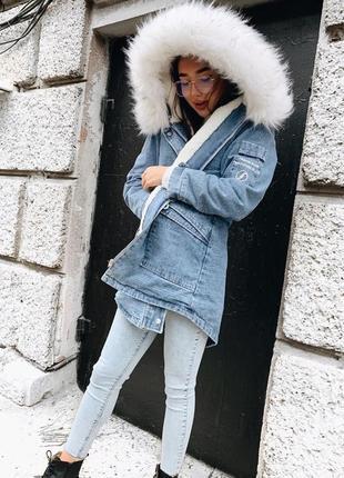 Джинсовая парка куртка с мехом