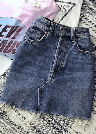 Джинсовая мини юбка с необработанным краем h&m