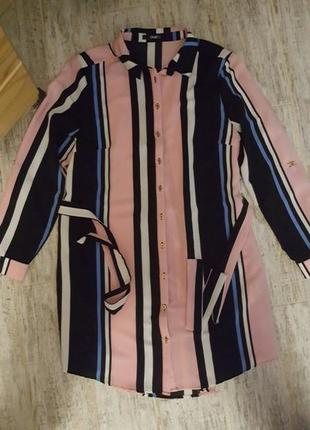 Полосатая удлинённая рубашка размер 14