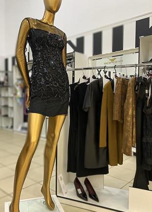Платье чёрное сетка вечернее стразы пайетки новый год брендовое италия