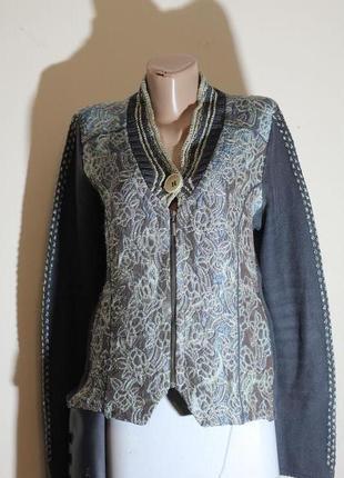 Роскошный пиджак из комбинированной ткани в бохо стиле kello 48-50