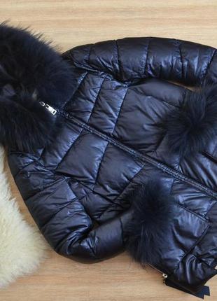 Теплий зимовий пуховик з екошкіри zlya