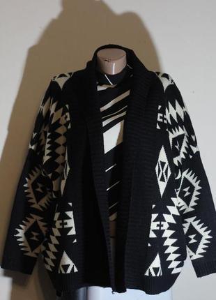 Кардиган,кофта длинная,вязанное пальто без застежки,этно(бохо)принт amisu 54-56