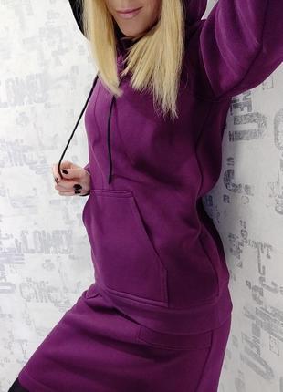 Теплый трикотажный костюм худи + юбка зима
