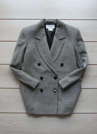 Шикарный пиджак бойфренд блейзер гусиная лапка 100% чистая шерсть от jaeger