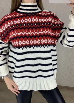Объемный свитер с норвежским принтом marks spencer