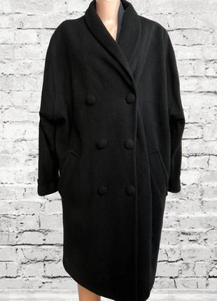 Черное теплое пальто оверсайз / шерсть / кашемир италия