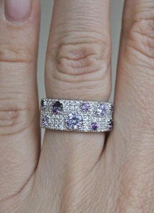 Серебряное кольцо софит сиреневое р.17,5