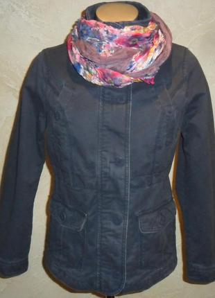 Бирка стильная синяя коттоновая джинсовая куртка mantaray s-m