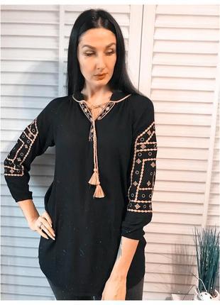 Черная туника платье с вышивкой