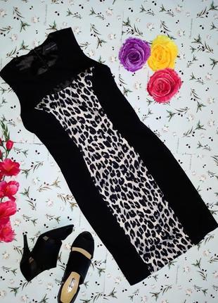 🌿1+1=3 черное фирменное платье футляр миди с леопардовым french connection, размер 42 - 44