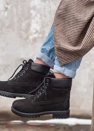 Timberland black зимние женские ботинки с мехом цигейки /осень/зима/весна😍