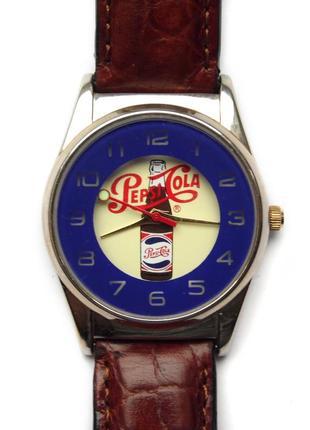 Pepsi-cola ретро часы из сша кожа механизм japan morioka tokei