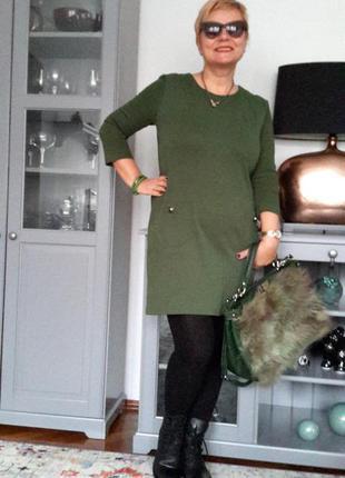 Стильное зеленое платье от mango трикотаж, размер l