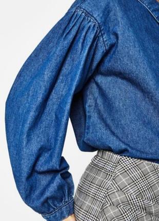 Джинсовая рубашка тренд с воланами