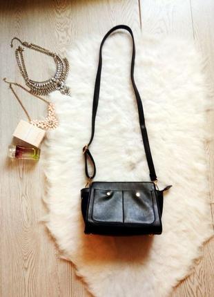 Черная сумка кросс боди parfois маленькая эко кожа замш длинная ручка кросс боди