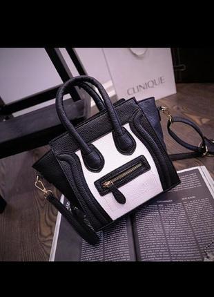 Маленькая сумка с короткими и длинной ручкой с надписью celine сумка черная белая