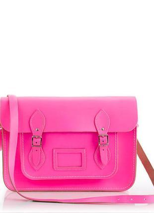 Розовая кожаная сумка портфель на застежках длинная ручка кожзам фуксия средняя