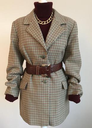 Винтаж! винтажный шерстяной жакет пиджак в модную клетку пье де пуль гусиная лапка.