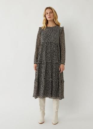 Стильное платье в принт с длинным рукавом вискоза
