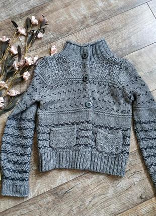Серый теплый свитер от marks&spencer/кофта грубой вязки,шерсть альпака