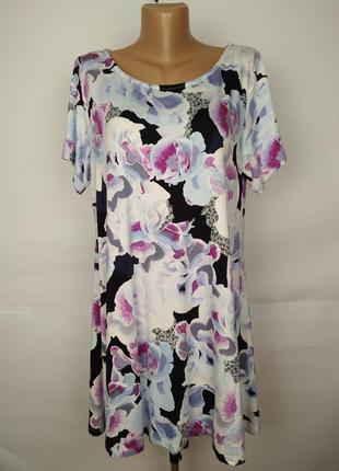 Платье туника трикотажное вискозное красивое большой размер marks&spencer uk 18/46/xxl